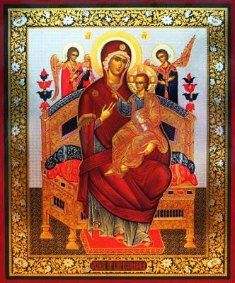 """Чудотворная икона  """"Всецарица (Пантанасса) """" пребывает в Ватопедском монастыре(Греция), в соборном храме обители."""